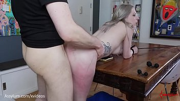 Beautiful bubble-butt blond gets brutally painal fucked with ass to mouth over the dining table (Violet October)