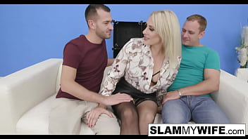 Wild blonde babe gets ass fucked in front of her man