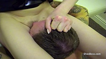 Thin British amateur rides a guys face hard with her pussy