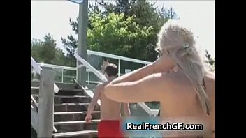frenchgfs fuck blonde hard blowjob cum french girlfriend suck at swimming pool