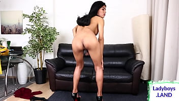 Cock tugging trans chick pleasures herself