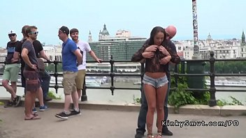 Tanned naked slaves disgraced in public