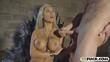 Feisty goddess got jizz on her big boobs after fucking