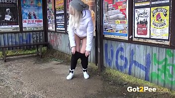 Sexy Pissing at the Bus Stop