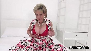Unfaithful british mature lady sonia pops out her gigantic tits