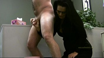 Lady boss handjobs employee only for his cum Thumb