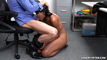 Jenna Fox big tits jiggles and bounce as she gets fucked over the desk by the pervy security officer