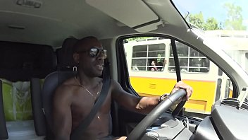 Joss lescsaf shows off while driving naked in this car. With he's BBC in soft mode