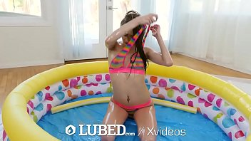 LUBED Lubed Up Tiny Pool Sex Compilation