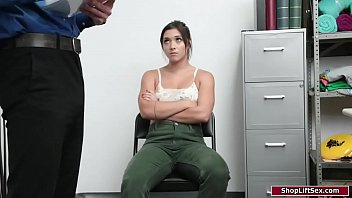 Brunette fucking with security officer