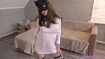 Sexy Girl in Mesh Tights Passionate Blowjob and Riding on Cock