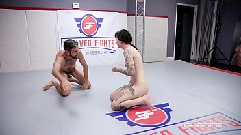 Charlotte Sartre rough nude wrestling fight against Jay West