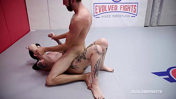 Charlotte Sartre hard mixed naked wrestling match vs Jay sucking his cock at Evolved Fights