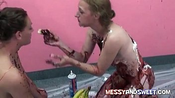 Holly and Amy getting all messy