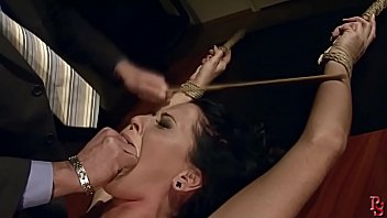 Gorgeous busty milf Andy Moon, tied and dominated by her boss. BDSM bondage sex movie.