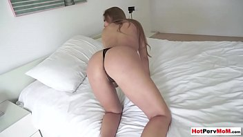 Annoyed cougar stepmom shows how tight her MILF pussy