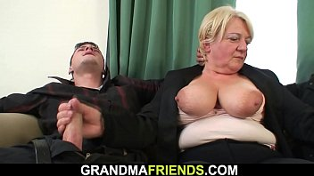 Two buddy pick up busty old mature blonde