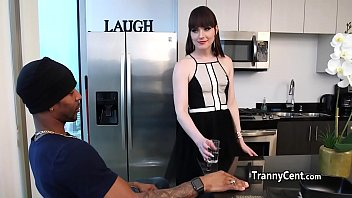 Guy bangs trannny ass in the kitchen