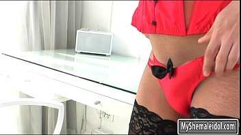 Busty tranny Sophie asshole screwed hard on the bed