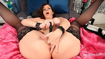 Busty MILF Sara Jay Plays With Her Vagina In Stockings!