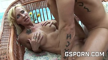 Sexy mature blonde fucked by rough cock with cum on tits