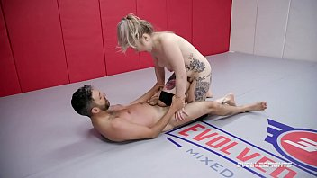 Kaiia Eve nude wrestling fight delivering ball kicking and her strapon