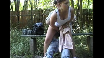 Fucking the hottie in the woods
