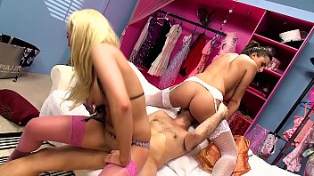 Big Natural Tits Threesome in a Lingerie Shop. Blonde and Brunette team up for MFF 3-Way in Sexy Dessous!