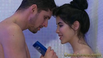 Dane Jones Teen gives sloppy blowjob in shower and rides cowgirl to orgasm