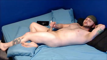 Jerk off with butt plug in, cum on my face, and swallow load porn image