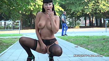 Public flashing and playing in stockings nude-public