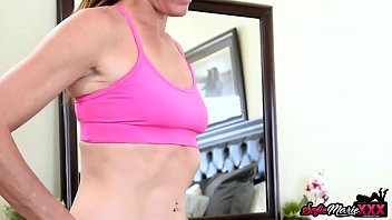 Sporty MILF Sofie Marie Catches Stepson Wanking Before Fuck