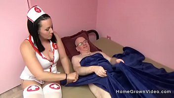 Chubby tattooed nurse fucks her old patient in bed