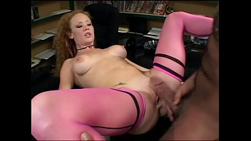 Redhead Audrey has sex in pink seamed stockings