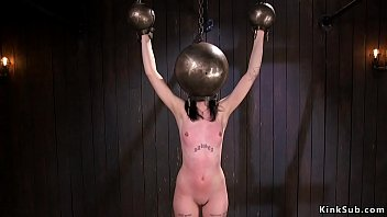 With hands and head in metal ball lock