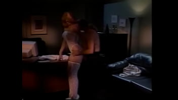 Blondie in white lace sucks hunk's pole then gets drilled on the desk