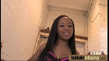 Ebony in a huge bukkake 19