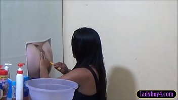 Asian tranny ass fucked - Ladyboy fucks a guys ass sticking through a gloryhole