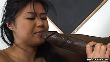 Teen asian takes big black dick Super hot asian lady gets a big black cock in her cunt