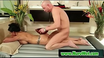 Will Powers & Jewels Jade - Masseuse with huge boobs gets her mouth filled with big cock covered in nuru gel