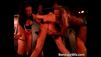 Two hot young girls punish a guy