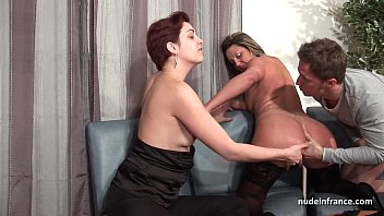 FFM French mature ass fucked for her amateur casting couch with a redhead slut Image