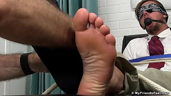 Silas gets strapped and both feet lubricated and brushed