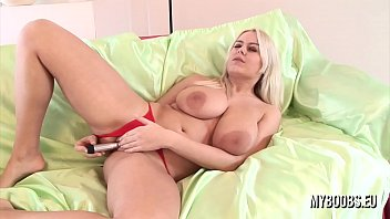 Busty blonde Melissa Medlikova in red lingerie masturbate by silver vibrator