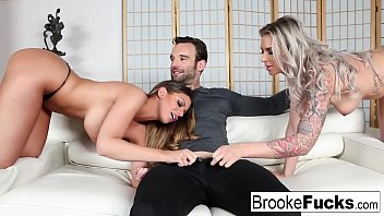 Brooke shares a big cock with Brooklyn Chase's mouth