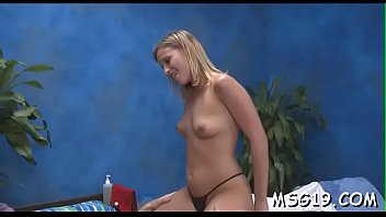 Sweetheart with taut round ass smashed hard in a massage room