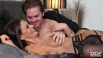Sperm-hungry vamp Tina Kay stimulates her clit while being fucked real hard