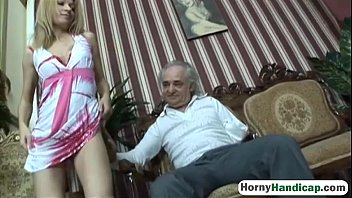 Cute blonde takes care of an older handicapped manfilth-hi-3