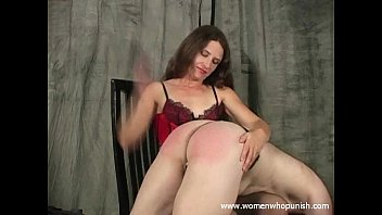 Naughty boy spanked - Leda spanks her naughty slave with her hands and paddle