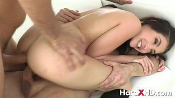 Horny young brunette hardcore DP